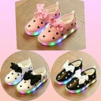 Sz 21-30 Sepatu Anak Lampu Led Import Pantofol Ribbon Mickey Pink