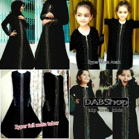 ABAYA / JUBAH / GAMIS ZYPER FULL MATA SWAROSKI COUPLE MOM KIDS