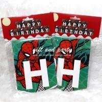 Banner HBD Spiderman / Bunting Flag Spiderman / Banner Karakter