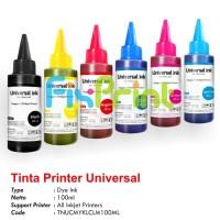 Tinta Universal Ink Yellow 100ml, Tinta Dye Base Tutup Kerucut