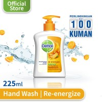 Dettol Sabun Cuci Tangan Re-Energize - Botol Pump 225mL - Jeruk