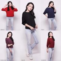 4 Warna Baju Rajut Lengan Panjang Knit Off Shoulder Wanita Best