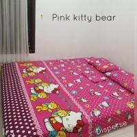 sprei homemade karakter anak SIZE 90 X 200 motif pink kitty bear