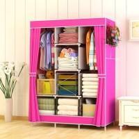 Lemari Pakaian Baju Besar Rak Jumbo Bahan Oxford 028cx Pink
