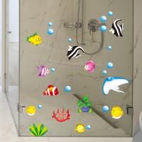 Terbaru Tropical Cartoon Fish Sea Bubble Ocean World Removable Wall