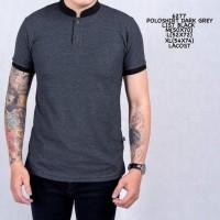 Kaos Polo Shirt Pria Baju Cowok Polo Kerah Abu Dark Grey