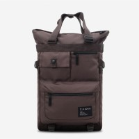 Tote Backpack Grid Brown