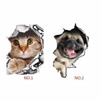 Stiker Closet Kamar Mandi Sticker Dinding WC Kloset Toilet Cat Dog