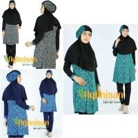 Baju Renang Muslimah / Wanita Dewasa Muslim - Hitam-Toska, XXL