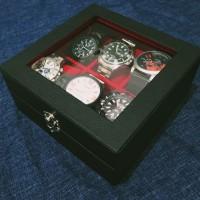 Wooden Watch Box Leather PU Kotak Jam Tangan Isi 6 Dengan Flip Lock