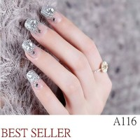 Nails Art Kuku Palsu Pesta Nikah Glitter Motif Bunga 3D Cantik Murah