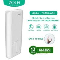 Powerbank ZOLA Alpha 10400mAh Fast Charge 2.1A Dua Output -White/Black
