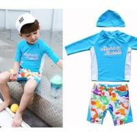 Baju Renang/Swimsuit UPF50+ Anak Laki Laki Aloha Bubb;e Biru
