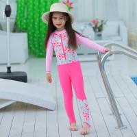 Baju Renang/Swimsuit UPF 50+ Jumsuit Anak Perempuan Bunga Topi Pink