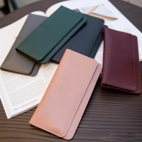 Dompet wanita panjang tipis kulit matte model korea retro wallet pouch