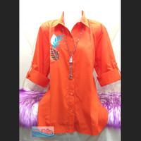 Kemeja / Shirt / Wanita / Orange / Bordir Daun 01 XXXL