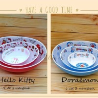 Mangkuk Melamin Set Hello Kitty / Doraemon