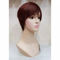 Wig Human Hair Brown Maroon