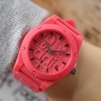 Jam Tangan Pria / Wanita Murah Adidas Logos Rubber Pink Fanta