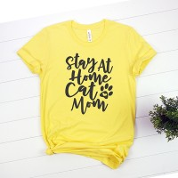 Kaos Pet Lover Stay At Home Cat Mom T-Shirt