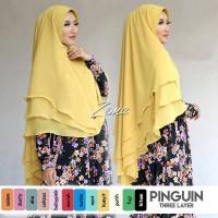 Jilbab Hijab Bergo Kerudung Khimar Pinguin 3 Layer
