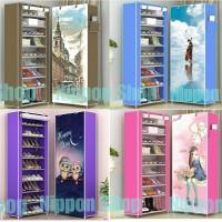 Harga rak sepatu 10 susun 9 rangka lemari gambar london guitar pink lady | Pembandingharga.com
