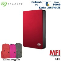 Seagate Backup Plus Portable Harddisk Eksternal 5TB - Merah + Daypack