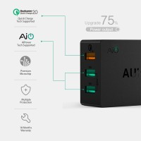 Aukey Charger USB 3 Port EU Plug 42W with QC 2.0 & AiPower