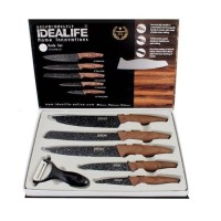 Pisau Keramik Dapur set / idealife il 161 / knife / Handle Motif KAYU
