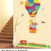 Wall Sticker 60x90 Air Baloon n Animals - Wallsticker Stiker Dinding