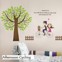 Wall Sticker 60x90 Afternoon Cycling - Wallsticker Stiker Dinding