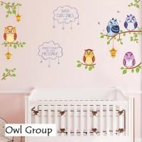 Wall Sticker 60x90 Owl Group - Wallsticker Gambar Stiker Dinding