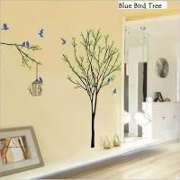 Wall Sticker 60x90 Blue Bird Tree - Wallsticker Gambar Stiker Dinding