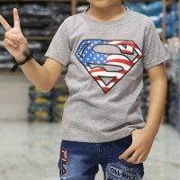 Kaos anak murah   supermen abu  grosir pakaian anak   murah meriah