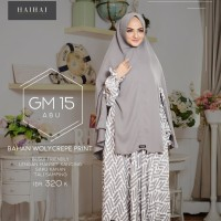 Gamis Wanita Busui Set Hijab Syari Ori Haihai GM 15 Gamis Wollycrepe