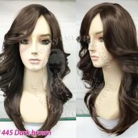 1445 | Wig medium sedang lurus blow wavy - poni samping - Light brown