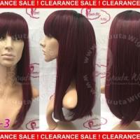 Wig ombre long straight / gradasi lurus panjang - Black-silver