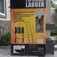 Tangga Lipat Telescopic Alumunium 3.2M Single Ladder Teleskopik TELKOM
