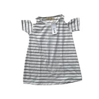 Black White Stripes Batwing Dress