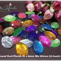 DMNP-17 : Diamond Oval Plastik 25 x 18mm Mix Warna (25 buah)