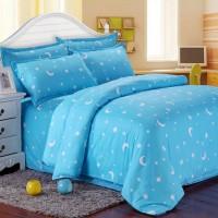 PROMO! Cotton Blue Stars Moon Printing Bedding Set Bed Sheet Duvet