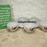 (packing kayu) Mangkok Keramik Motif Ayam 6inchi (6pcs)