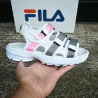 3a12d2936de Sepatu Sandal Wanita Fila Korea Flip Flop Santai Outdoor Putih Pink