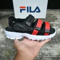 e3d940b9b07 Sepatu Sandal Wanita Fila Korea Flip Flop Outdor Gunung Hitam Merah