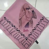 Kerudung Segiempat Bella Square Pollycotton Printing barbie Bunga Flow
