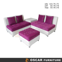 Kursi Tamu Sofa L Modern Minimalis - Full Set 2 2 Puff Meja - Hawaii