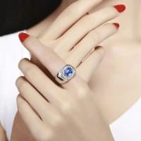 Cincin Pria Pinnanie Kristal Austria Asli platinum IMPOR