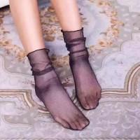 S43 Kaos Kaki Transparan Hollow Fishnet Mesh Socks - Glitter