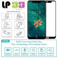 Anti gores Kaca Full Lem Glue Cover Slim Tempered Glass Nokia 5.1 Plus
