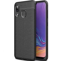 Samsung Galaxy A20 Softcase Leather Texture Silicon Case Cover Casing